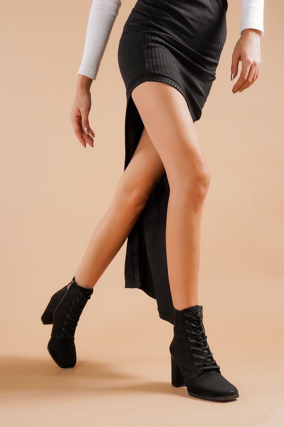 Audrey Siyah Süet Topuklu Kadın Bot