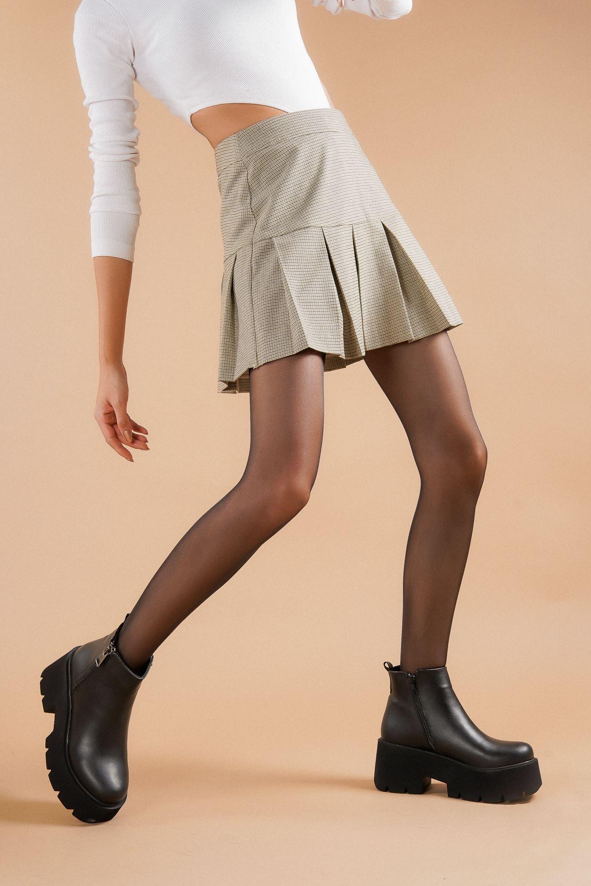 Alita Siyah Cilt Topuklu Kadın Bot