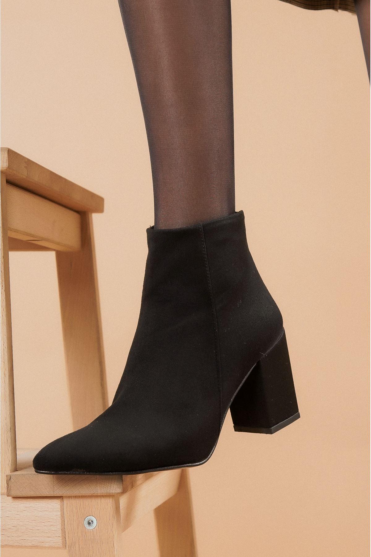 Shank Siyah Süet Topuklu Kadın Bot