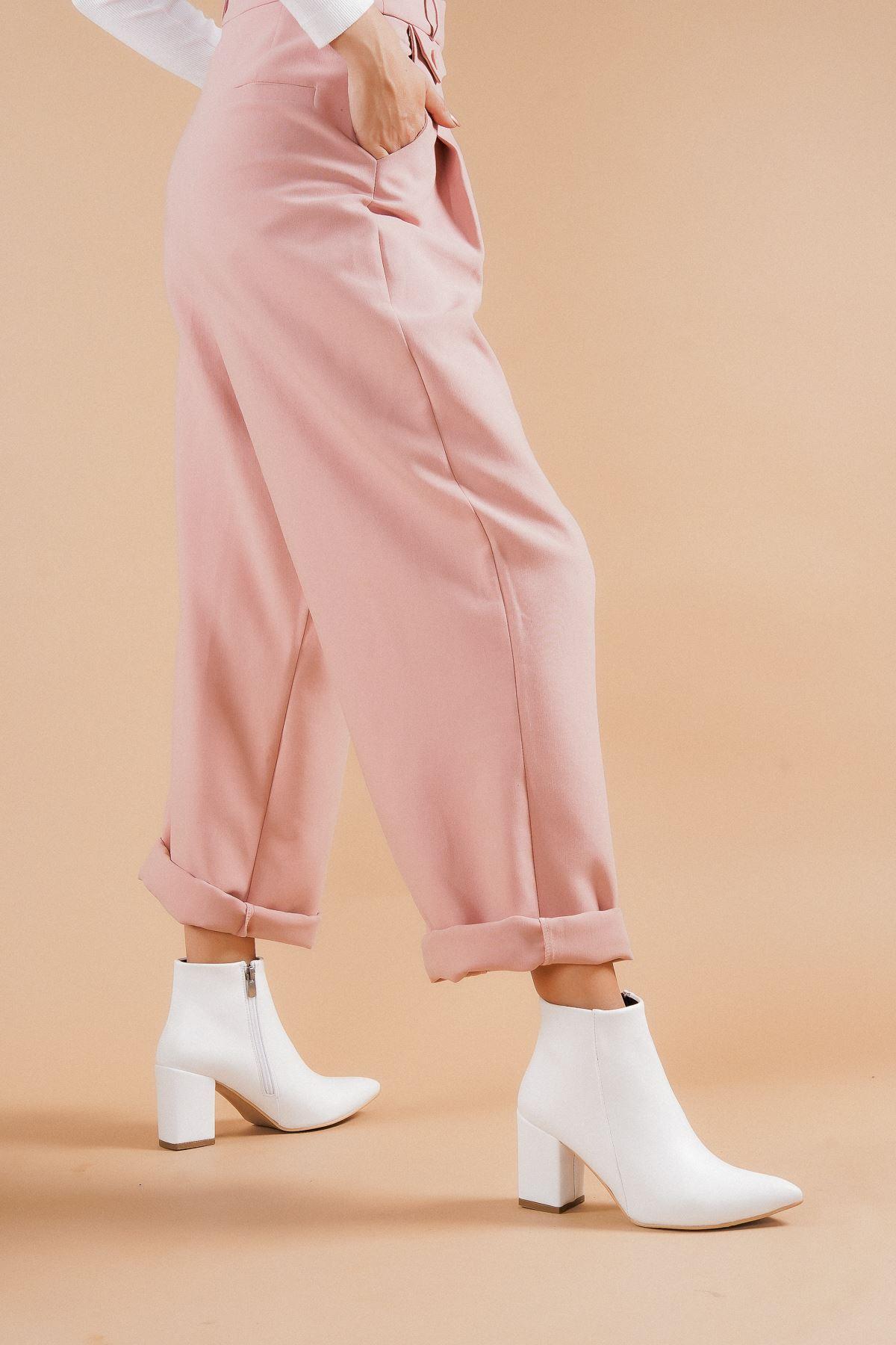 Shank Beyaz Cilt Topuklu Kadın Bot