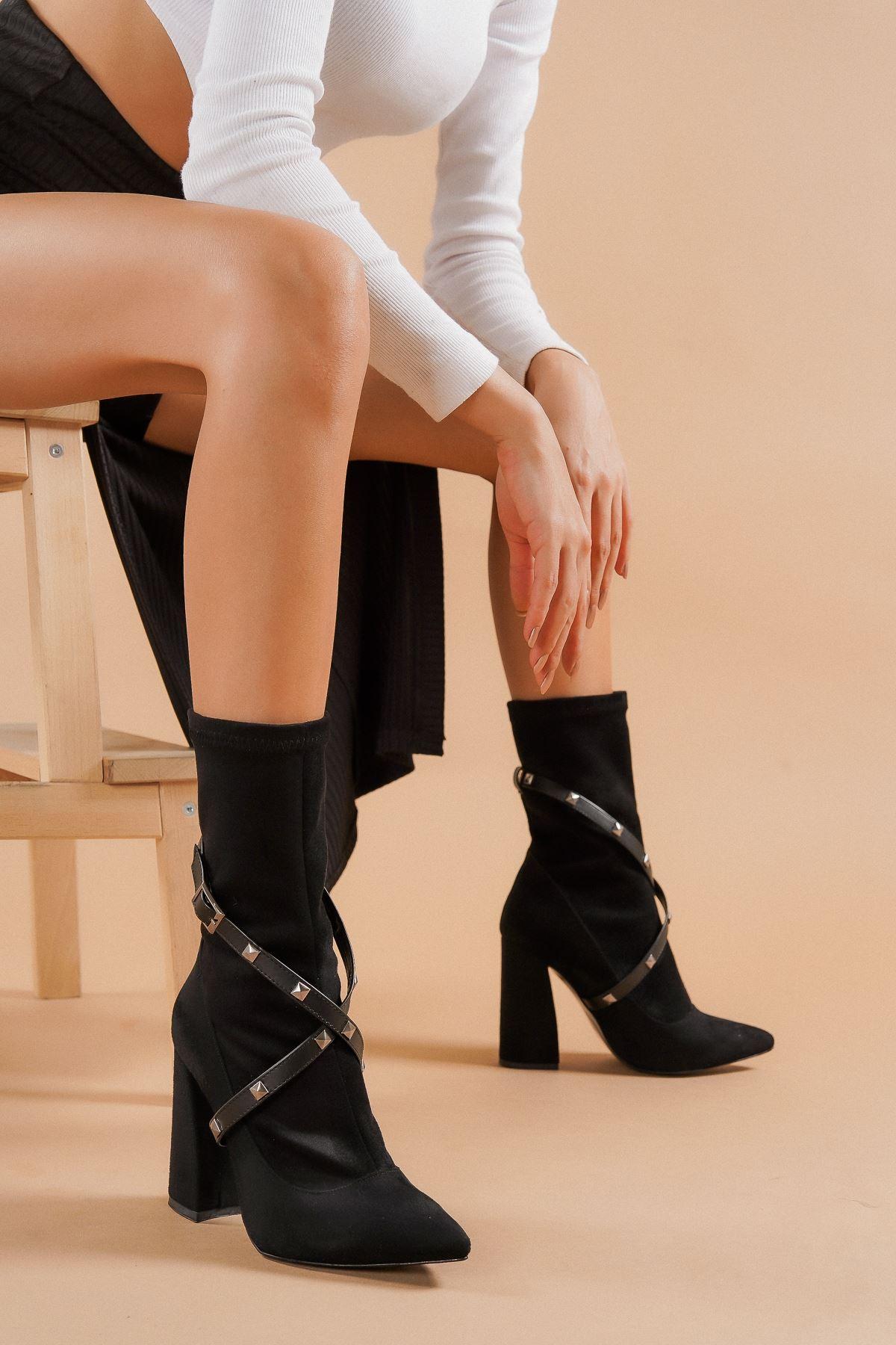 Milano Siyah Süet Topuklu Kadın Bot