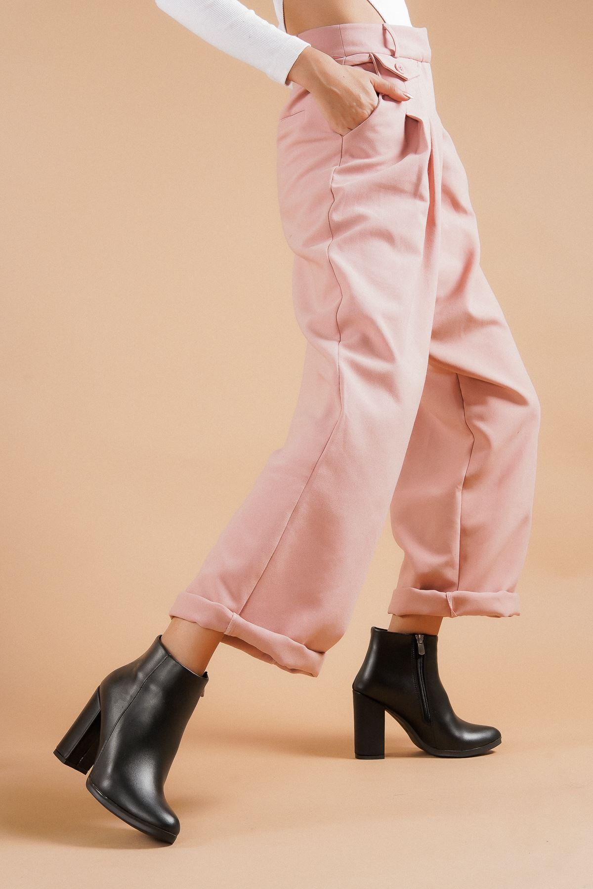 Tiamo Siyah Cilt Topuklu Kadın Bot
