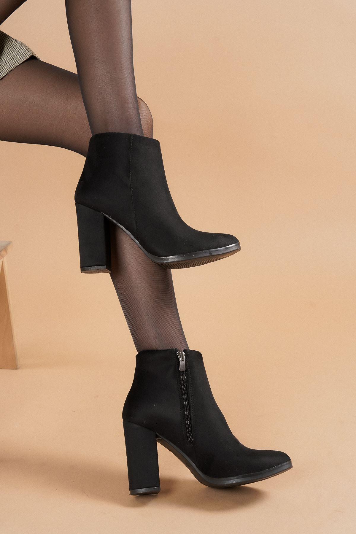 Tiamo Siyah Süet Topuklu Kadın Bot