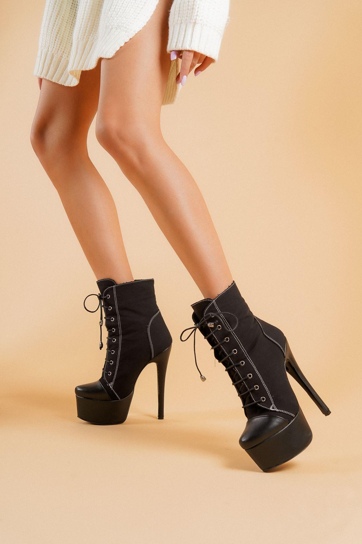 AllStar Siyah Keten Siyah Cilt Topuklu Kadın Bot
