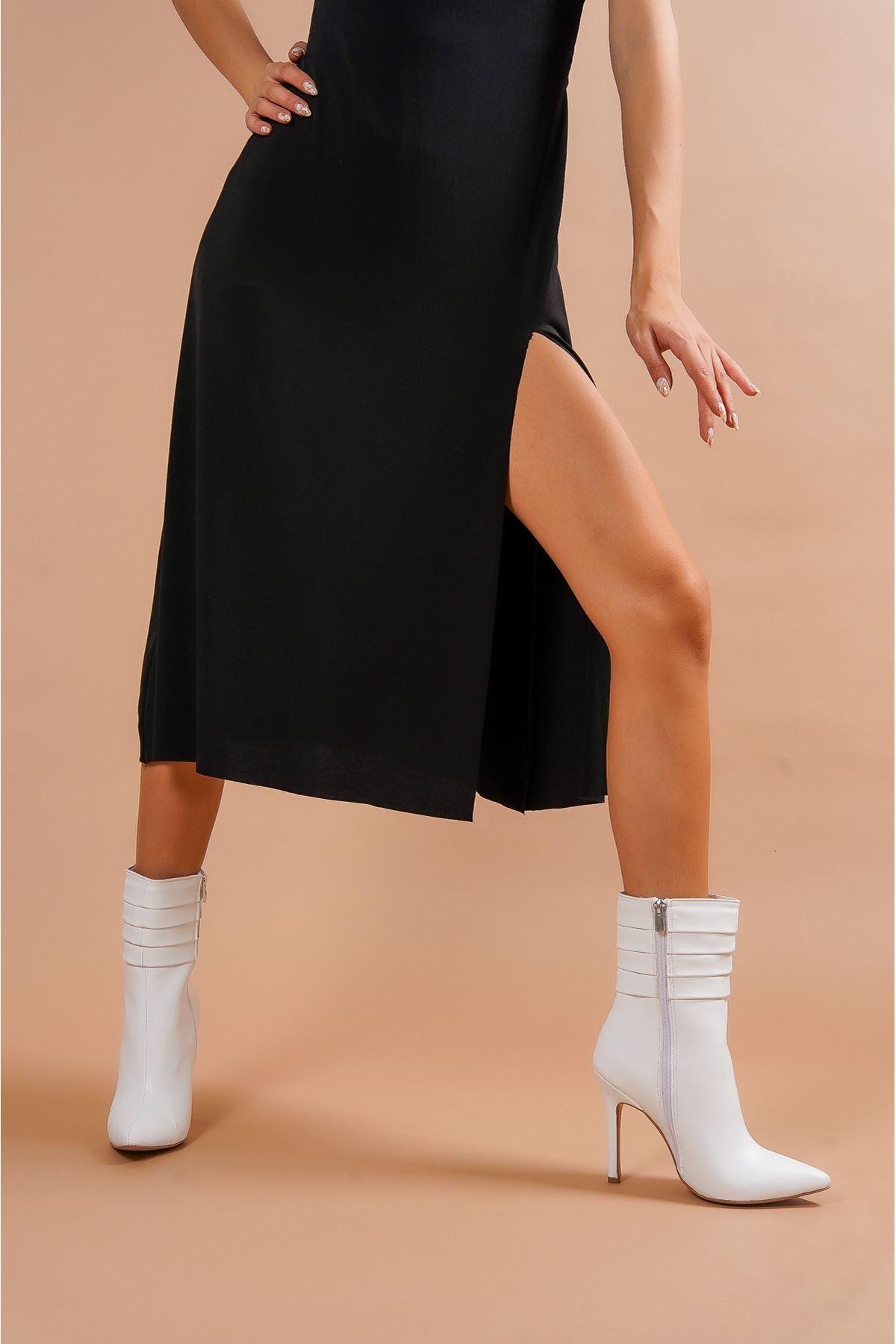 Diamond Beyaz Cilt  Kadın Topuklu Bot