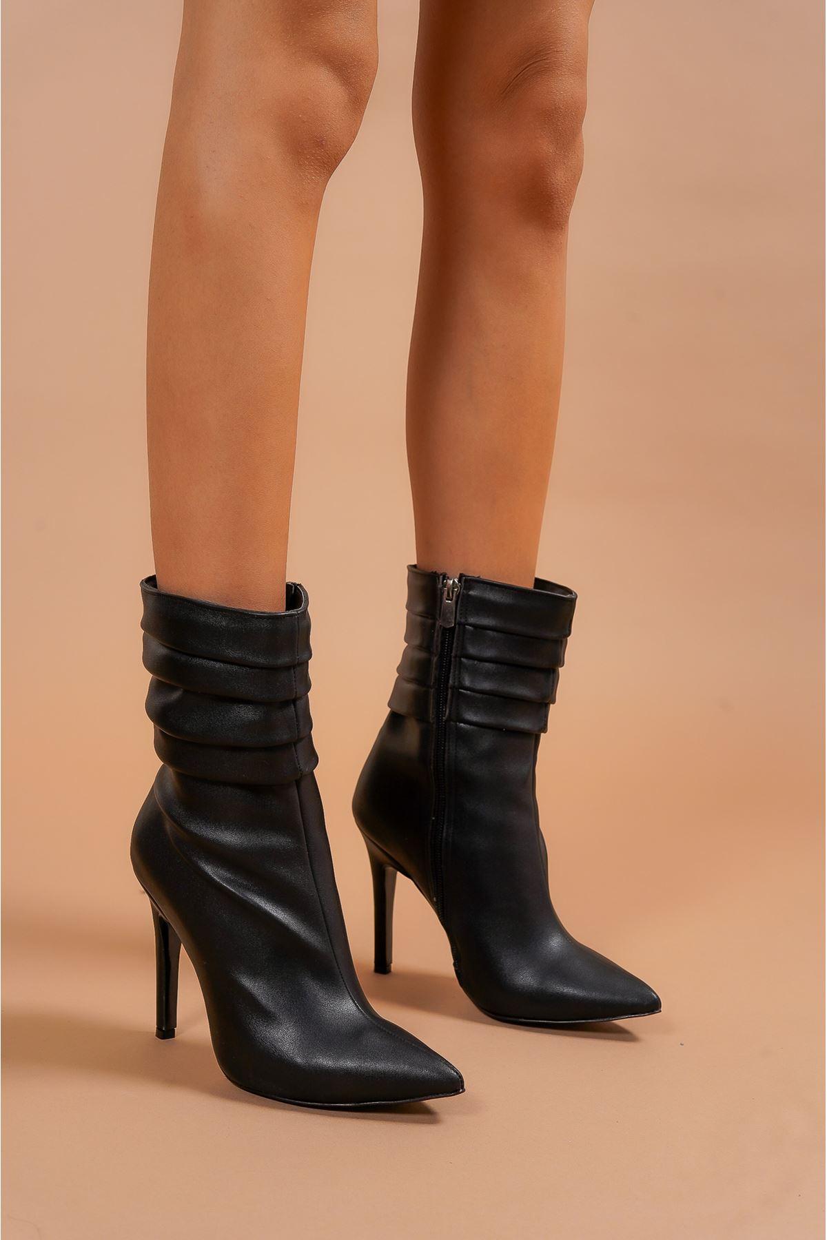 Diamond Siyah Cilt  Kadın Topuklu Bot