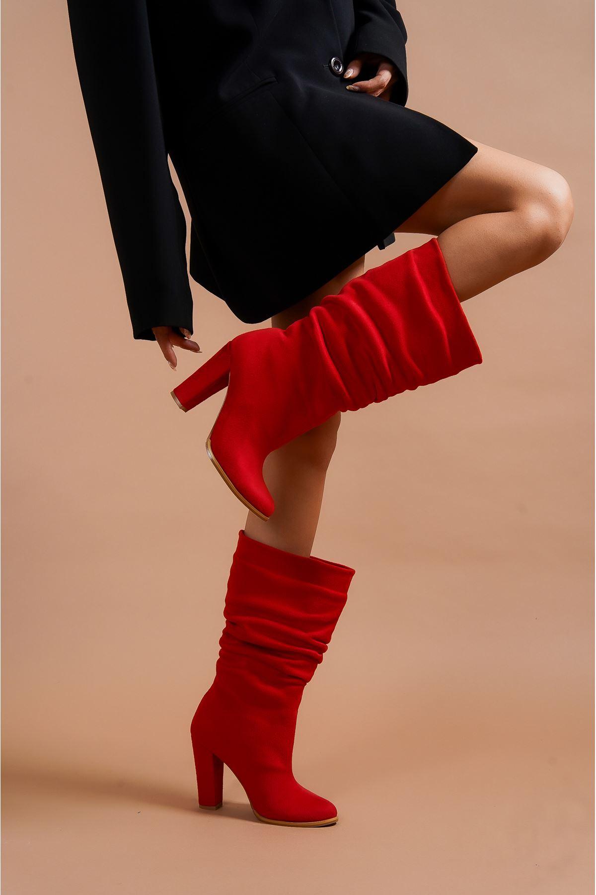 Kalde Kırmızı Süet Körüklü Kısa Kadın Kadın Çizme