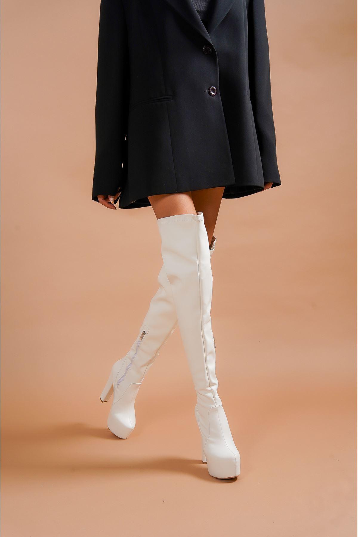 Pages Beyaz Cilt Yüksek Topuklu Diz Üstü Kadın Çizme