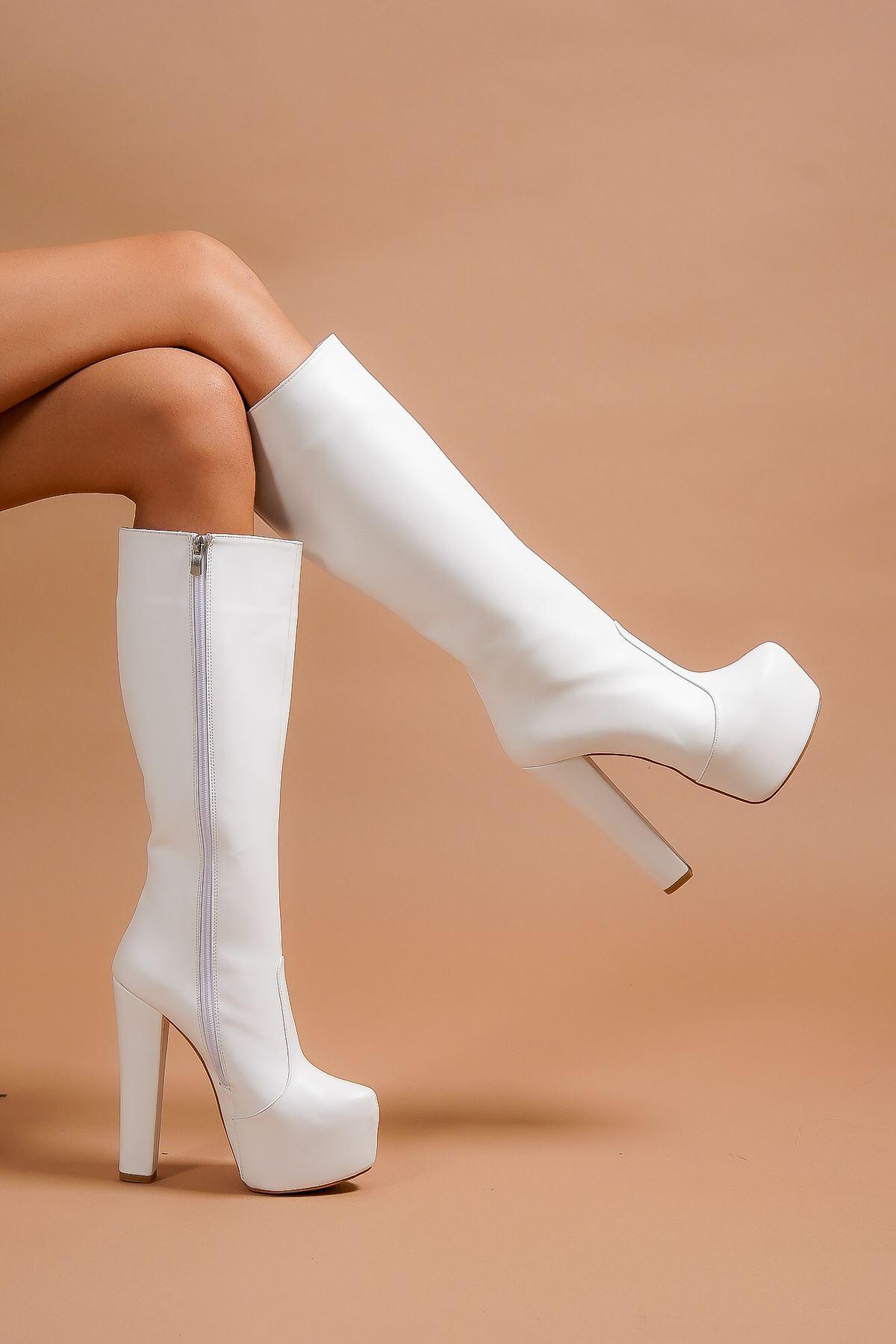 Lily Fermuarlı Beyaz Cilt Yüksek Topuklu Kadın Çizme