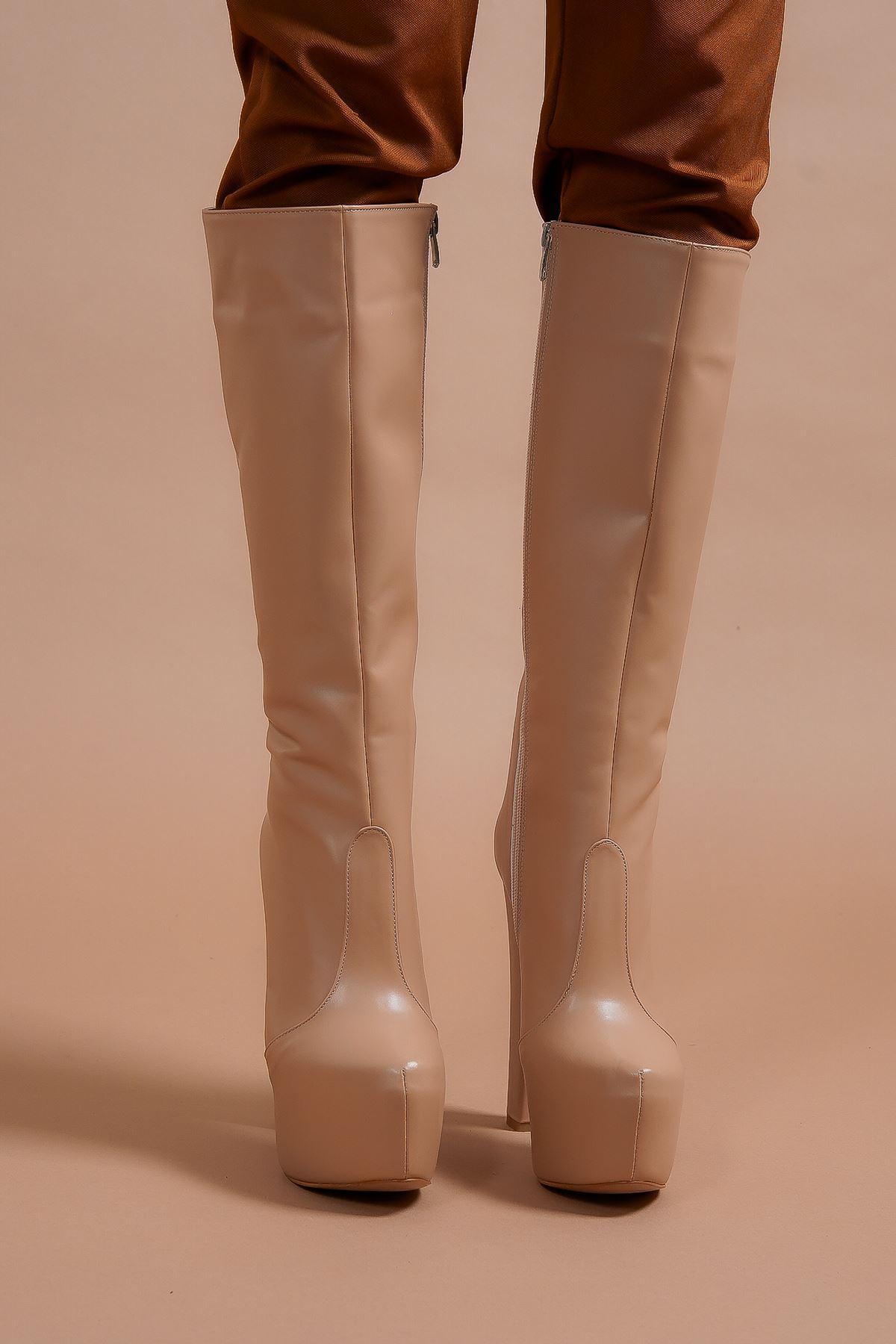 Lily Fermuarlı Nude Cilt Yüksek Topuklu Kadın Çizme