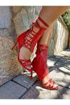 Cara Kırmızı Cilt Bağcıklı Topuklu Ayakabı
