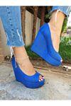 Angel Sax Mavi Süet Dolgu Topuklu Ayakkabı