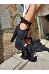 Faye Siyah Süet Biyeli Yüksek Topuklu Ayakkabı