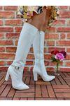 Andros Beyaz Cilt Tokalı Diz Altı Kadın Çizme