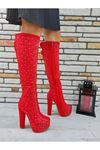 Catty Kırmızı Süet - Gümüş Taşlı Diz Altı Kadın Çizme