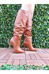 Away Taba Cilt Stiletto Diz Altı Topuklu Kadın Çizme