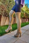 Angle Ten Süet Yüksek Topuklu Diz Üstü Kadın Çizme