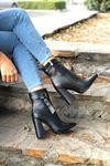 Cristina Siyah Kroko Topuklu Kadın Bot