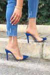 Cros Sax Mavi Parlak Topuklu Kadın Terlik