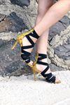 Rasha Sarı Yılan Lastikli Topuklu Ayakkabı